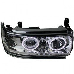 Paire phares Angel eyes Toyota land cruiser HDJ 80 chrome blanc
