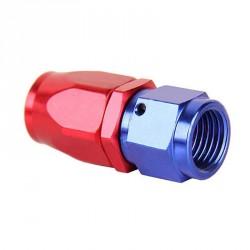 Raccord JIC femelle droit - AN10 rouge/bleu serrage de la durite par manchon