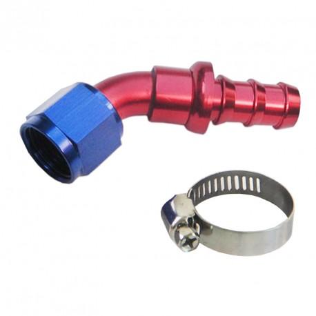Raccord JIC femelle 45° - AN10 rouge/bleu serrage de la durite par collier