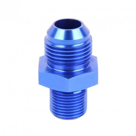 Raccord d'implantation métrique vers JIC - aluminium anodisé bleu