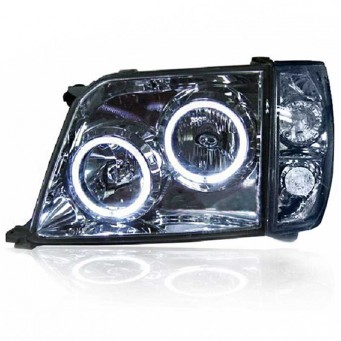 Paire de phares Angel eyes Toyota land cruiser KZJ 90 ou 95 chrome noir