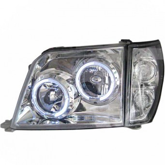 Phares Angel eyes Toyota land cruiser KDJ 90 ou 95 chrome blanc