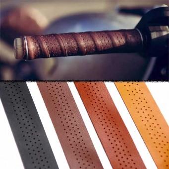 Guidoline cuir perforée pour poignée moto vélo quatre couleurs au choix - longueur 2 mètres
