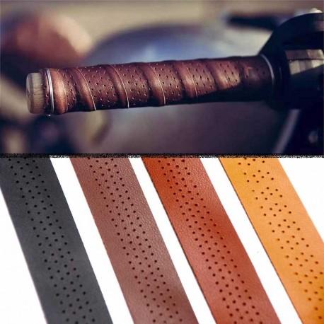Guidoline cuir perforée pour poignée moto vélo quatre couleur au choix