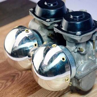 Boitier filtre à air vintage type champignon avec vieux rivet, carbu Ø 33mm à 60mm