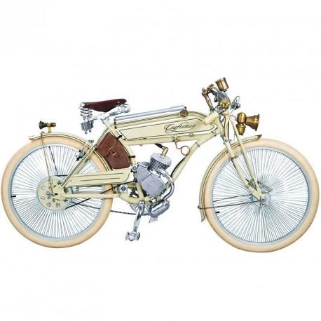 Craftsman Motorcycle, saveurs d'antan le vélocipède motorisé des années 20 blanc