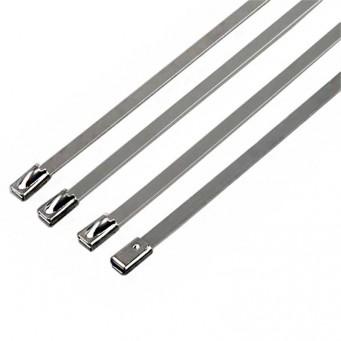 Collier en acier inoxydable un set de 4 serre câbles largeur 10mm, longueur suivant déclinaison