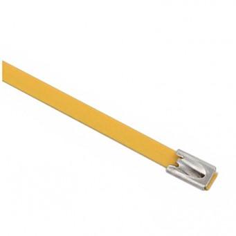 Set de 4 collier de câble en acier inoxydable plastifié couleur jaune - largeur 10mm, longueur suivant déclinaison