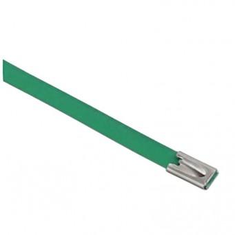 Set de 4 collier de câble en acier inoxydable plastifié couleur vert - largeur 10mm, longueur suivant déclinaison