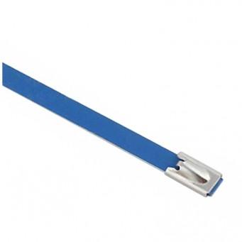 Set de 4 collier de câble en acier inoxydable plastifié couleur bleu - largeur 10mm, longueur suivant déclinaison