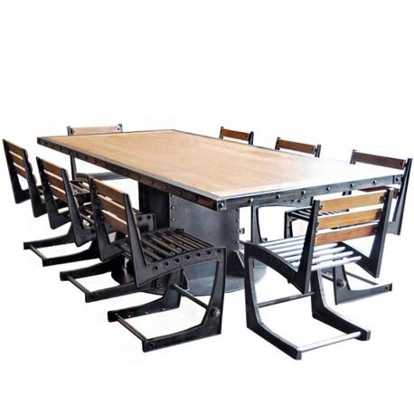Table loft pied central construction acier poutre - Pied central pour table ...