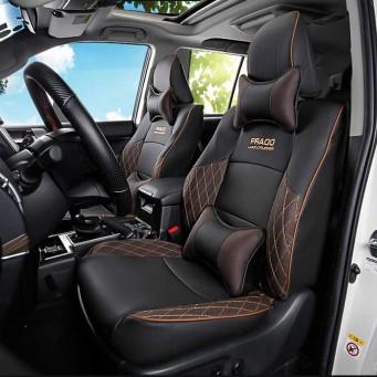 Couvres sièges design pour Land Cruiser Prado KDJ noir et beige avec le logo surpiqué