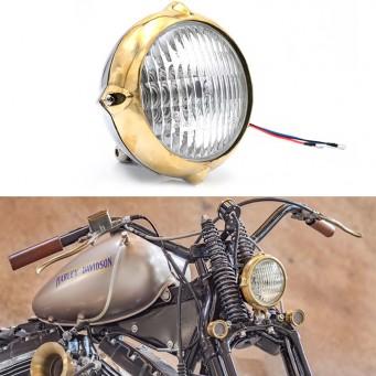 Phare de moto Sturgis en laiton et chrome