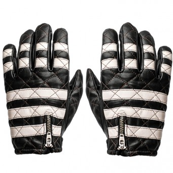 Gant cuir Fogy Black And White Striped pour moto motard couleur black