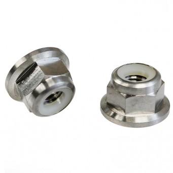 Ecrou frein en titane nylstop à embase diamètre M10 pas fin de 1.25mm - Grade 5 TA6V