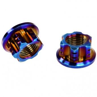 Ecrou en titane tête à usinage allègé avec embase - M12 pas de 1.5mm - Grade 5 TA6V couleur arc-en-ciel