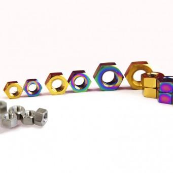 Écrou M6 en titane tête hexagonal grade 5 - pas de 1mm - couleurs au choix