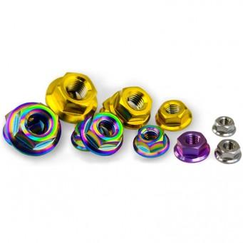 Écrou M6 en titane tête hexagonal avec embase multiple couleurs